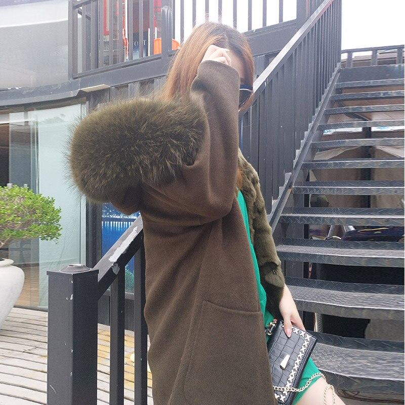 2018 nueva moda invierno Parka lana cachemir abrigo de piel para mujer abrigo cuello con capucha Rex piel de conejo forro de calidad superior - 3