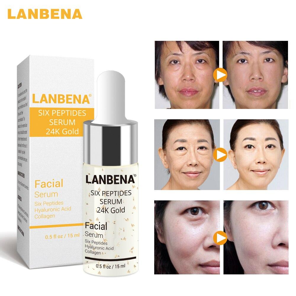 Face Serum Pure 24K Gold Essence Day Cream Anti Wrinkle Care Anti Aging Collagen Whitening Moisturizing Hyaluronic Acid LANBENA