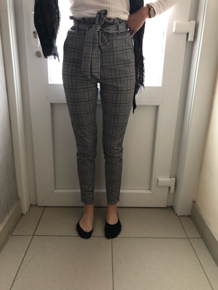 Grey Paperbag Waist Plaid Cigarette Pants Belted High Waist Pencil Pants Women Spring Casual Office Lady Workwear Trousers photo review
