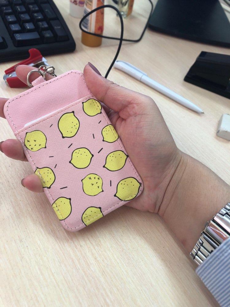 schattig fruit pu bus kaarten geval studenten meisje ID bank creditcardhouder zak met vrouwelijke lanyard sleutelhanger badge cover protector photo review