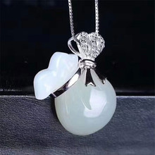 925 silver jewelry Natural White jade wholesale natural Hetian jade  money bag pendant