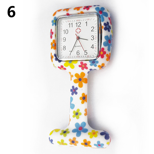 Women Silicone Square Nurse Watch Clip-on Brooch Pocket Quartz Movement Watch цена и фото