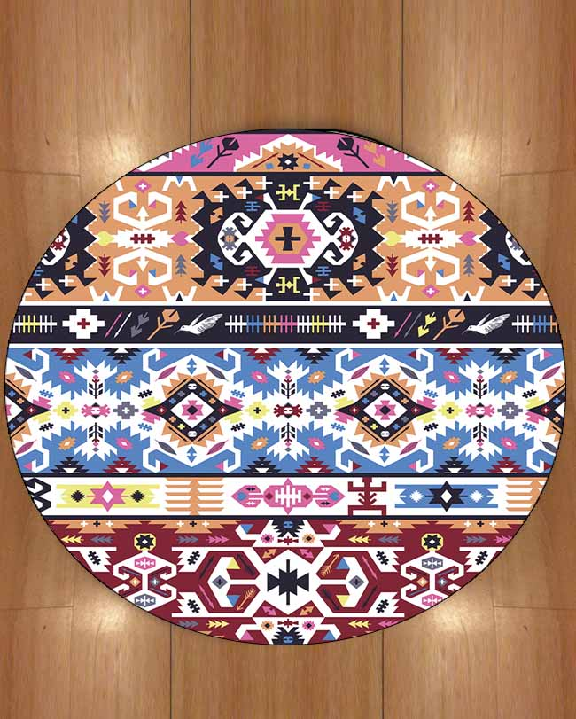 Else Purple Blue Orange Ethnic Geometric Authentic 3d Print Anti Slip Back Round Carpets Area Rug For Living Rooms Bathroom