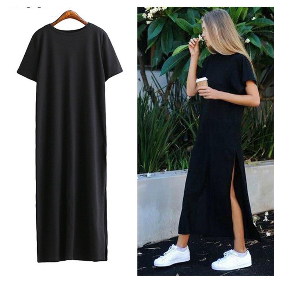 Maxi T Shirt Dress Women Summer Beach Sexy Kim Kardashian Ukraine Kyliejenner Linen Boho Long Black Bodycon Dresses Plus Size Up-To-Date Styling Women's Clothing