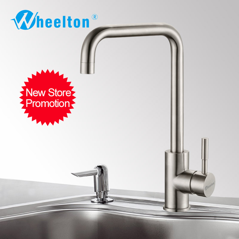 Wheelton Kitchen Faucet Stainless Steel 360 Swivel Tap Single Handle All For Kitchen Mixer-Silver,7Shape Freeshipping 021 multifunction s shape outdoor camping kitchen stainless steel hanging hooks silver 6 pcs