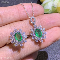 KJJEAXCMY exquisite jewelry 925 sterling silver inlaid natural emerald gemstone pendant necklace ring set support detection