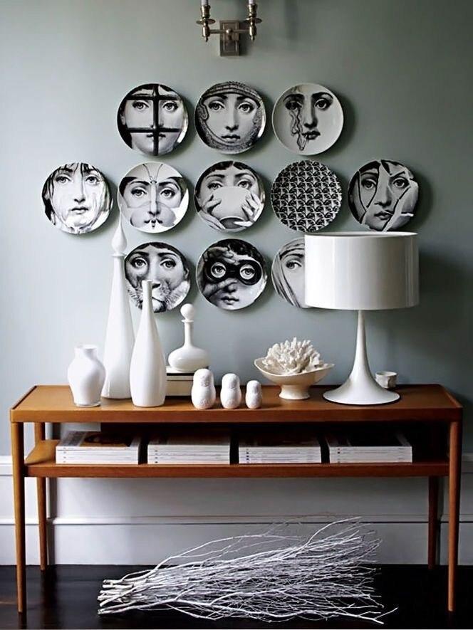 9 stück Piero Fornasetti Dekorative Platten Gerichte 8 Zoll Fornasetti Gesicht Dekorative Wand Platten für Hängen Porzellan Platten-in Schalen & Teller aus Heim und Garten bei  Gruppe 1