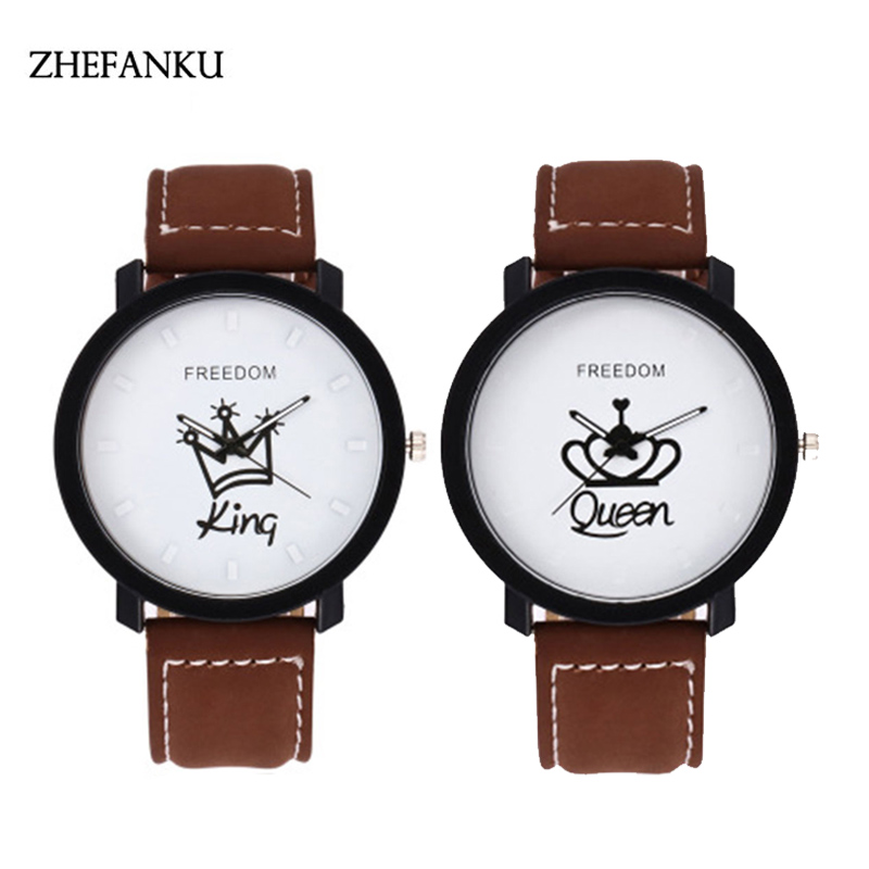 Brand Lovers Quartz Watches Couples Clock Hours Women Queen Men King Leather Wristwatch Fashion Female Male