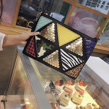 618 New Luxury Handbags High quality PU Leather Women Hit color Rivets Messenger Crossbody fashion Leopard  Sexy Classic bag