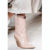 2019 розовый женская обувь из натуральной кожи Острый носок Сапоги вестерн ковбойские ботинки Для женщин до середины икры Коренастый клинья