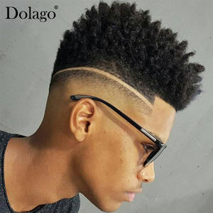Dolago 100%Human-Hair Afro for Men Natural-Looking European Toupee Replacement Swiss
