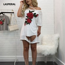 LASPERAL 2017 Summer Rose Distressed Tshirt Dress Women Sexy One Shoulder Hollow Floral Ripped Dress esVintage Femme Streetwear