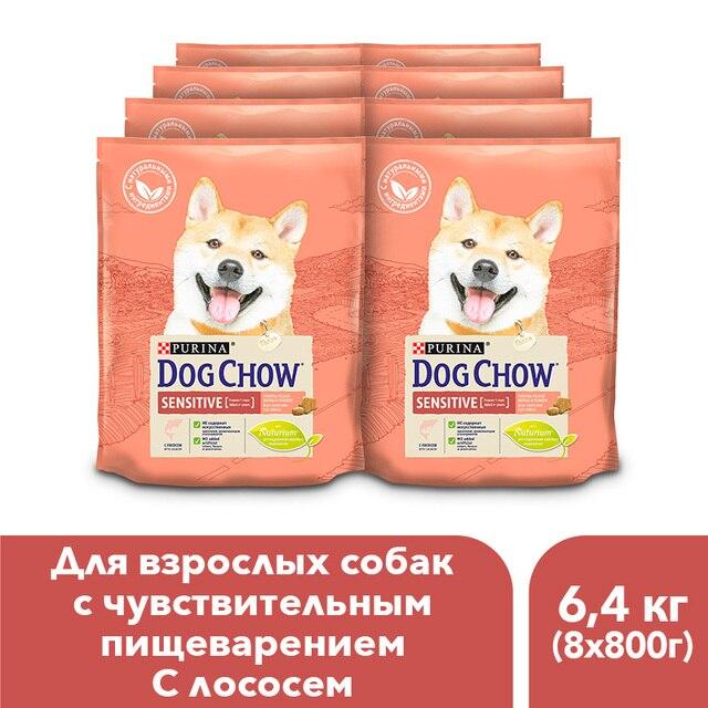 Сухой корм Dog Chow для взрослых собак старше 1 года с чувствительным пищеварением с лососем, 6.4 кг.