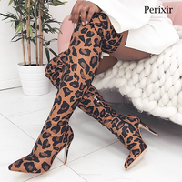 Perixir Big Size Women Over the Knee Boots Leopard Stretch Fabric High Boots Pointed Toe Thin Heels Boots Shoes 11 cm Heels Boot