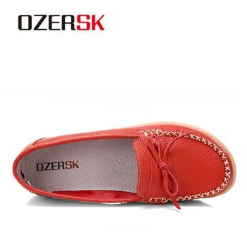 OZERSK New Genuine Leather Women s Shoes Slip On Woman Butterfly knot Flat Shoe Flexible