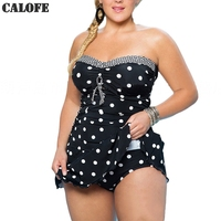 CALOFE Women Plus Size One Piece Suits Vintage Polka Dots Swimwear Removable Straps Push Up Sexy