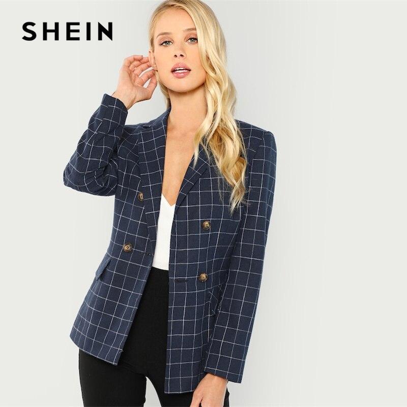 Shein Navy Cotton Office Lady Elegant Notched Neck Plaid Double Breasted Blazer Women Pocket Autumn Minimalist Coat Outerwear #3