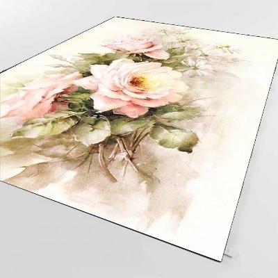 Else Pink White Roses Flowers Retro Green Leaf 3d Print Non Slip Microfiber Living Room Decorative Modern Washable Area Rug Mat