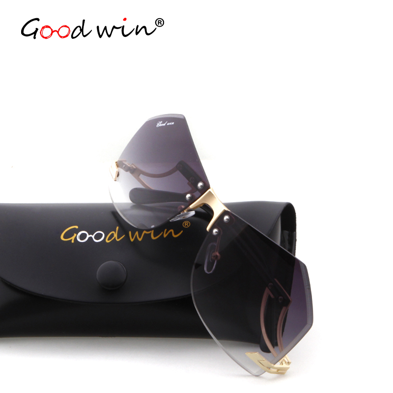 GOOD WIN Brand Oversized Sunglasses for Women Big Size Womens Sun Glasses Rimless Alloy Frame Oculos De Sol Feminino