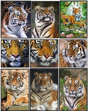 Embroidery Counted Cross Stitch Kits Needlework - Crafts 14 ct DMC Color DIY Arts Handmade Decor - Tiger Collection