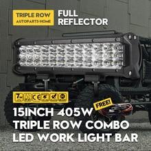 Cree Chips 405W 15Inch LED Work Light Bar 3-ROW Daying Running Spot Flood Combo Beam 4WD 4x4 Truck SUV ATV RZR 12V 24V