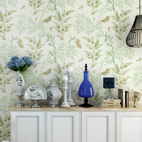 American Pastoral Beautiful Butterfly Wall Papers 3d Wall Decals Wallpapers Fresh Elegant Green Plant Wallpaper Bedroom QZ022