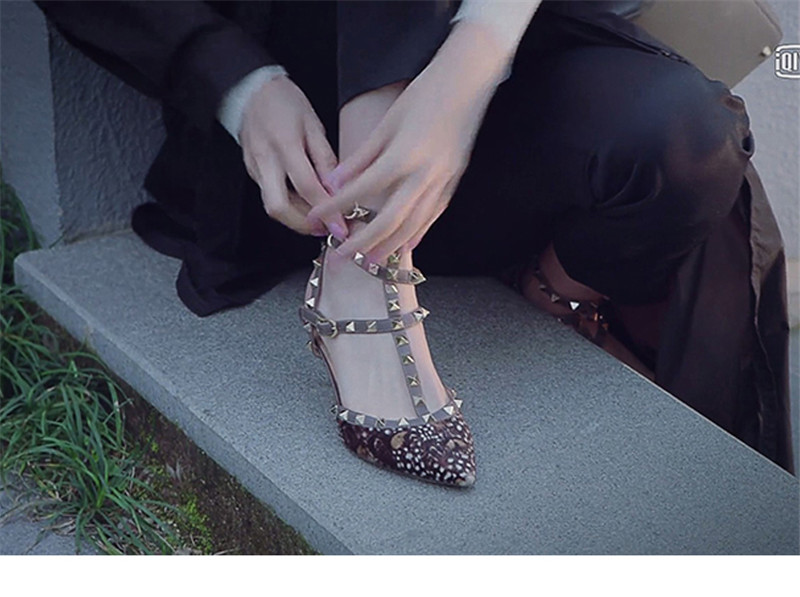 Sexy Leopard Pumps Women Rivet Gladiator Sandals Woman Three Belts Ankle Strappy Buckle High Heels Studded Stiletto Ladies Shoes