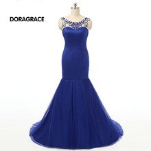 Glamorous Beaded Boat Neck Sleeveless Floor-Length Backless Mermaid Prom Dress Royal Blue Evening Dresses DGE018