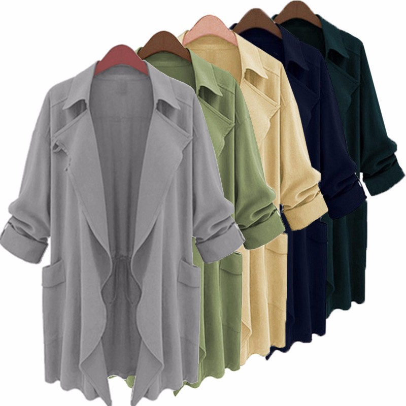 ZANZEA  2019 Spring Autumn Women Solid Casual Trench Coat Lapel Pockets Loose Long Cardigan Lady Chiffon Outwear Plus Size S-5XL