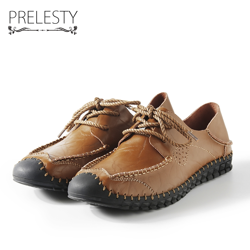 Prelesty Luxury Brand Men Genuine Leather Shoes Good Quality Men Driving Shoes Soft Men Loafers Comfortable Handmade Stitching luxury brand summer men shoes genuine leather big size men driving shoes good quality soft men loafers comfortable breathable