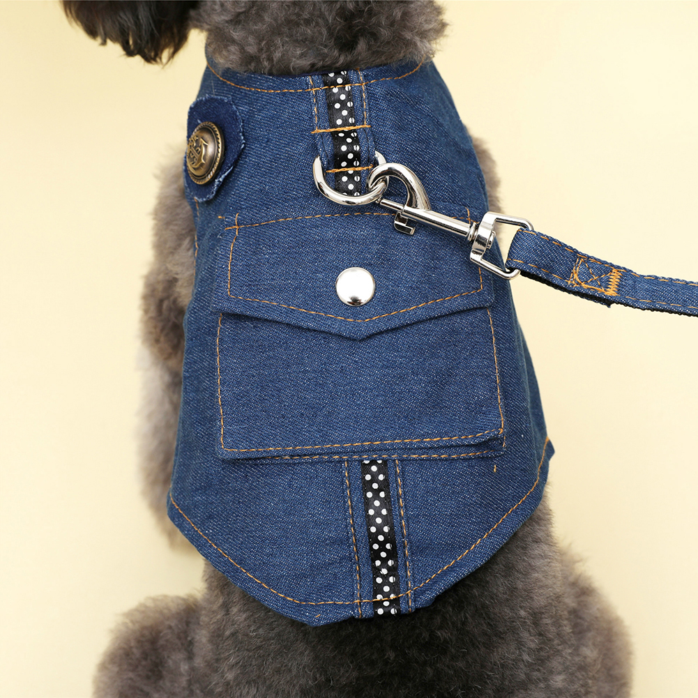 TINGHAO Soft Denim Dog Harness Padded Pet Small Puppy Cat Buckle Walking Vest Leash