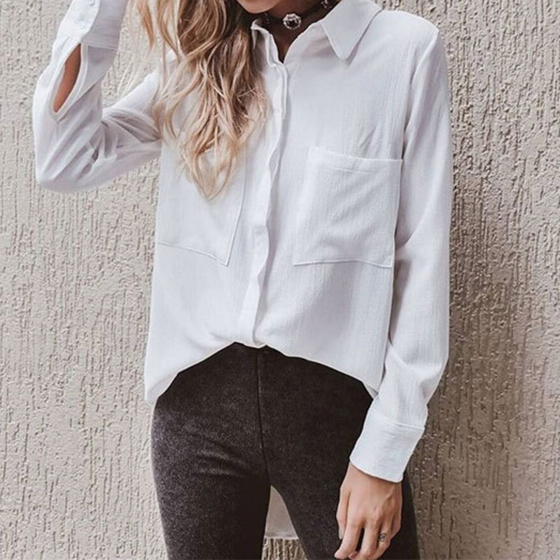 Bestteam Store Tops 2017 Women Long Sleeve Turn Down Collar Blouses Casual Ladies Solid Pockets Button Loose Shirts Blusas Femininas