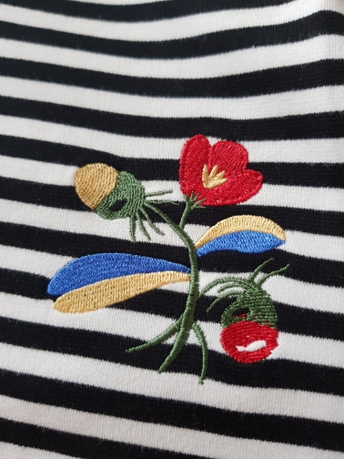 Toyouth Embroidery Flower T-Shirts For Women Classic Striped Long Sleeve Autumn Tops Casual Round Neck T Shirt Cotton Tees Cloth