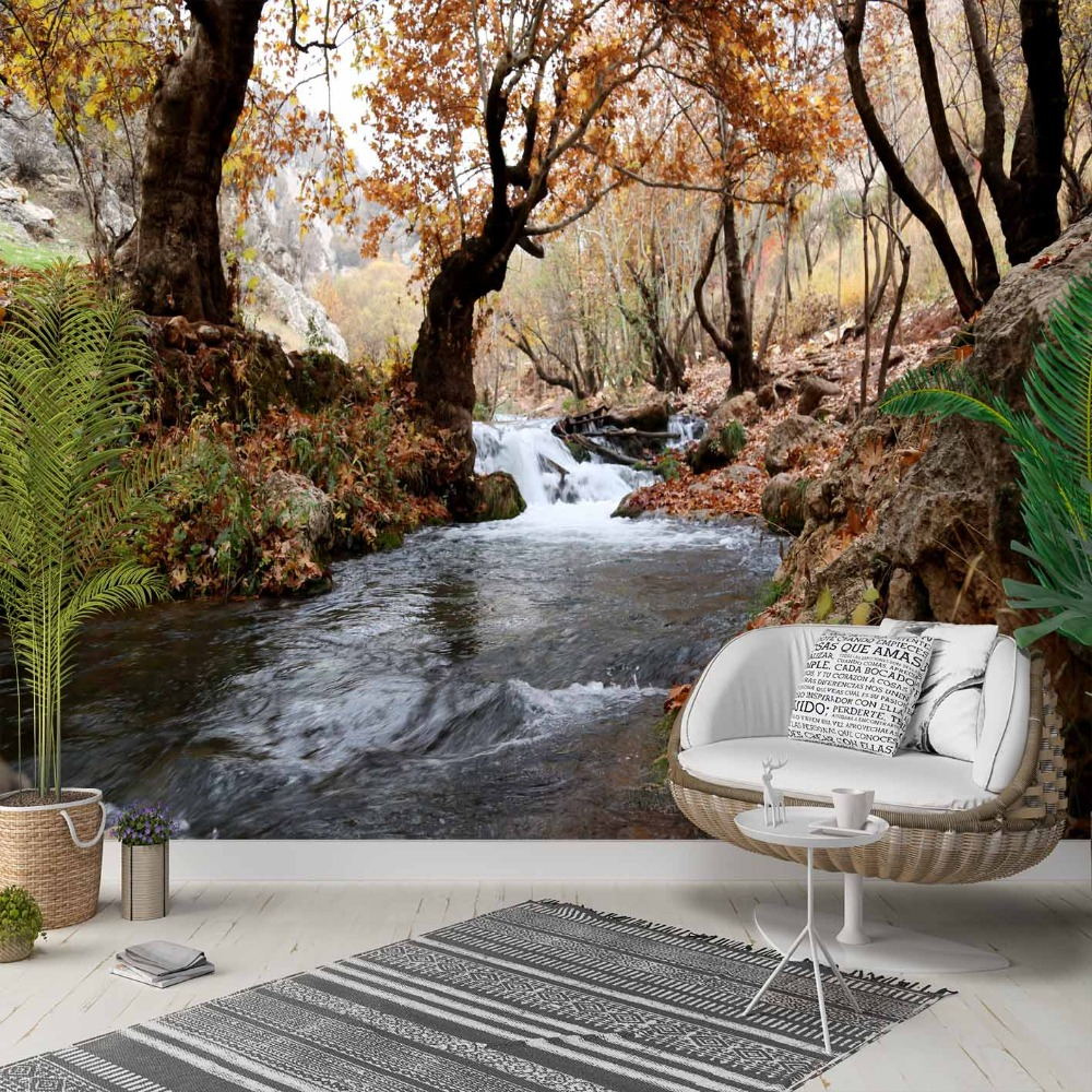 Else Autumn Brown Trees Forest River Floral 3d Photo Cleanable Fabric Mural Home Decor Living Room Bedroom Background Wallpaper
