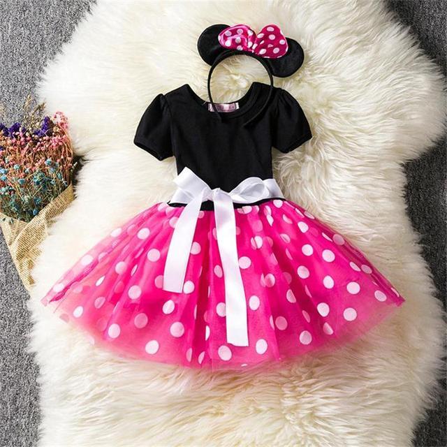 Bebé Vestido de La Muchacha de Lujo Polka Dot Niña Princesa Vestido ...