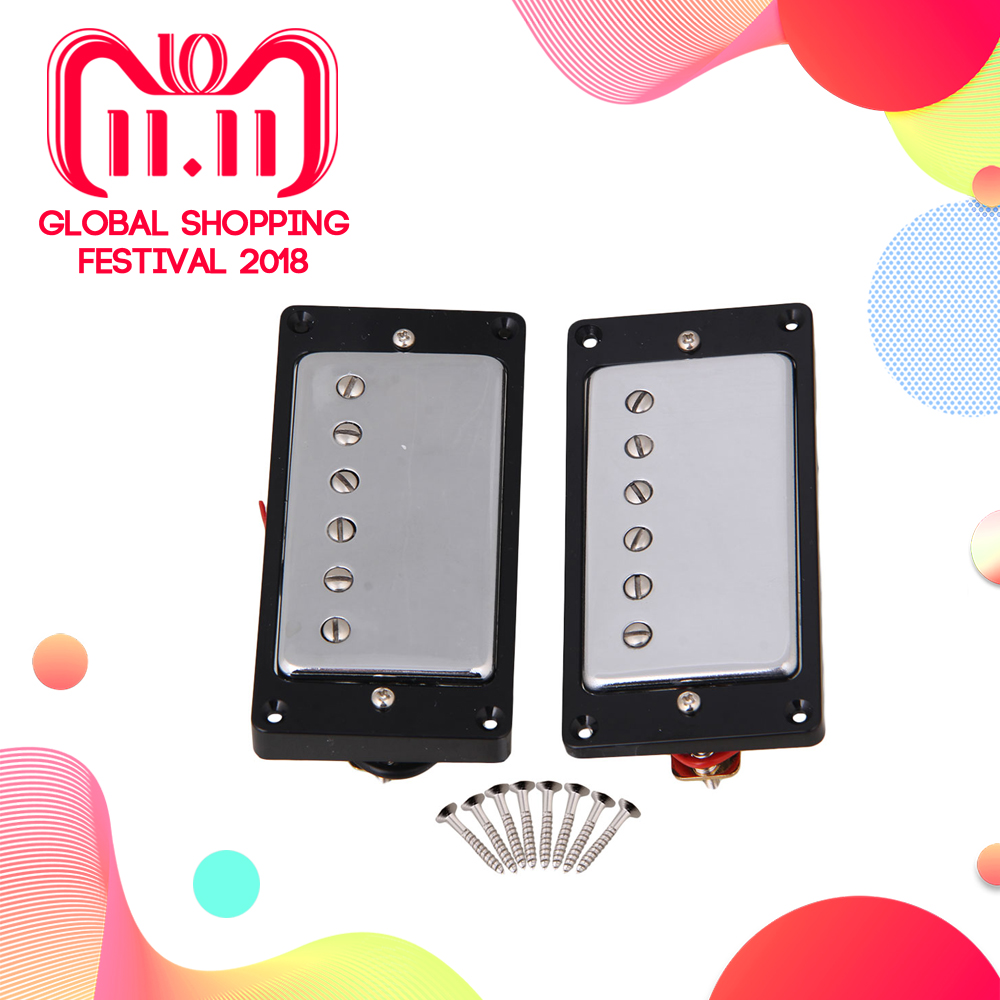 Yibuy Chrome Plated Humbucker pickups For Electric Guitar Parts Set цена