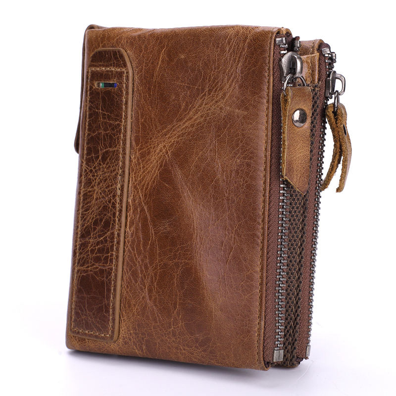 Genuine Leather Men Wallets Short Coin Purse Vintage Double Zipper Cowhide Leather Wallet Luxury Brand Card Holder Small Purse