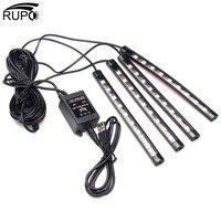 RUPO ערכת USB הגמיש רכב פנים מנורה דקורטיבית אווירת 4 יחידות RGB 9 LED רצועת אור רכב אוטומטי שליטה מרחוק מוסיקה DC12V