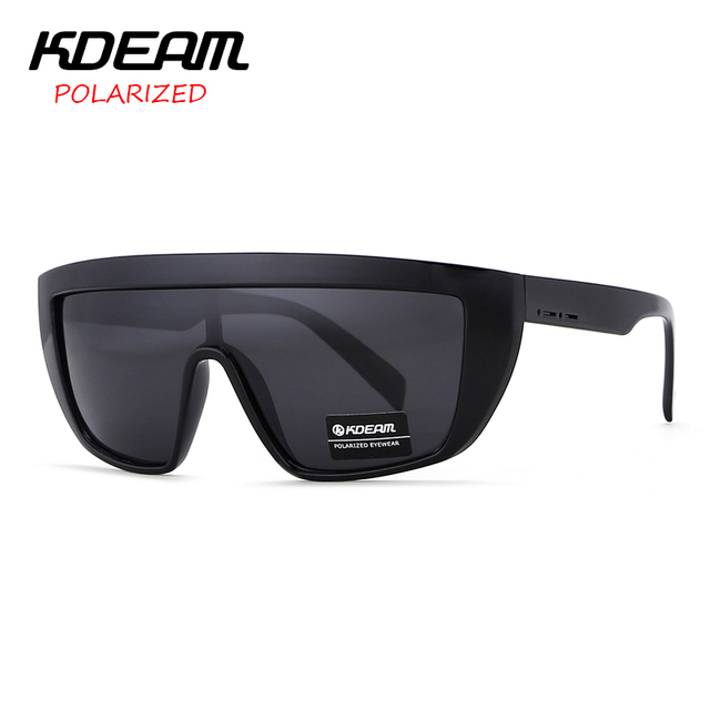 481a12eac18 KDEAM Mens Shield Goggle Big size Polarized Sunglasses Flat top Sun Glasses  Windproof Glasses UV400 5 colors with Case KD9014