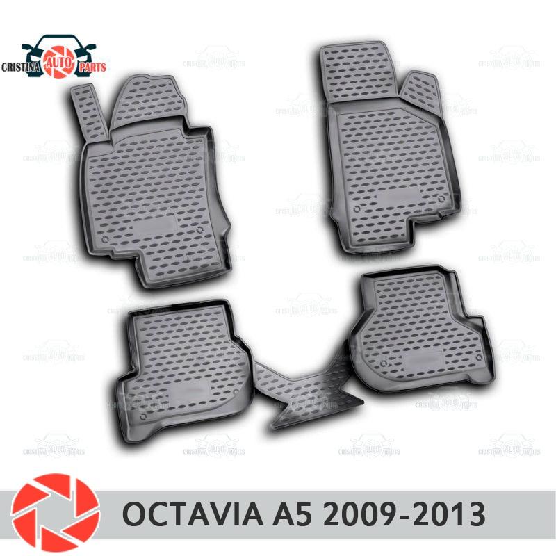 Para Skoda Octavia A5 2009-2013 piso alfombras antideslizantes de poliuretano tierra protección interior estilo de coche accesorios