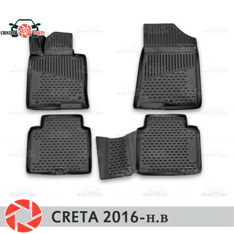 Alfombrillas de suelo para Hyundai Creta 2016-alfombras antideslizantes poliuretano protección de suciedad interior accesorios de diseño de coche