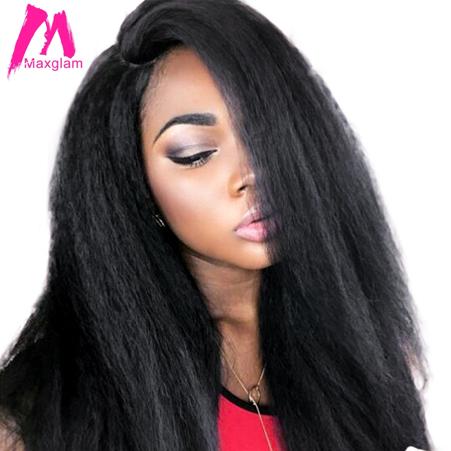 Maxglam kinky straight lace front human hair wigs for black women brazilian virgin hair wig pre