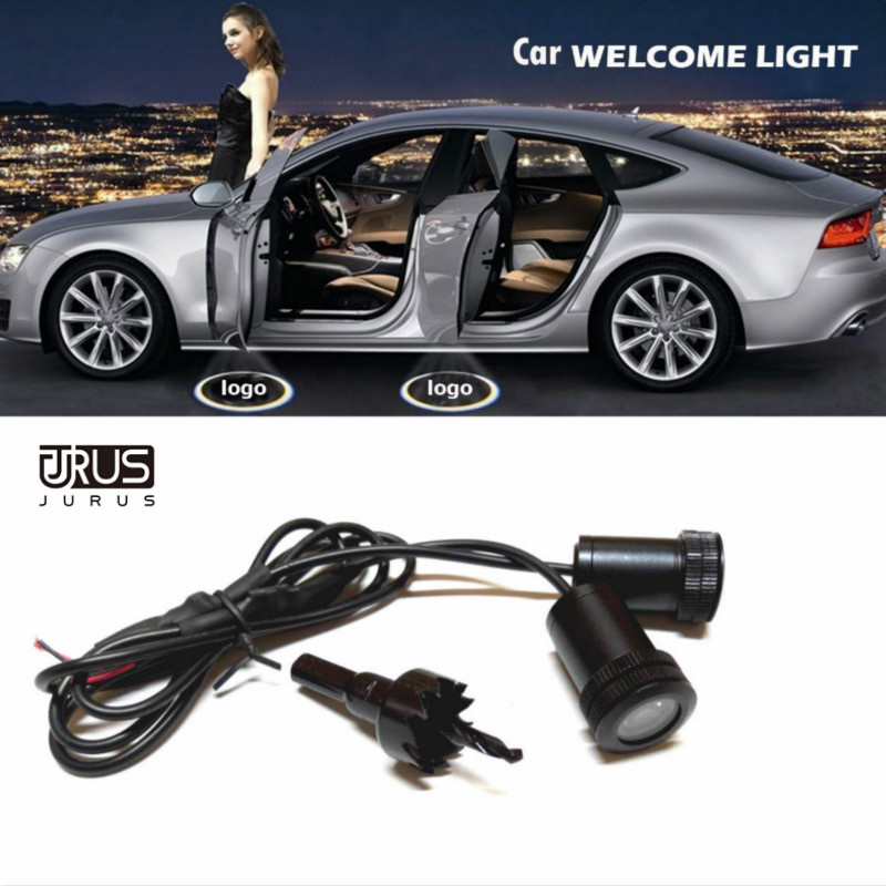 JURUS 2pcs new 4th high quality 12v led car door logo welcome auto laser projector light for kia for vw for lada freeshipping