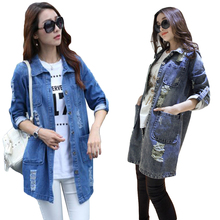 Loose Casual Md-long Denim Cardigan Ripped Turndown Collar Women Overcoat Jacket