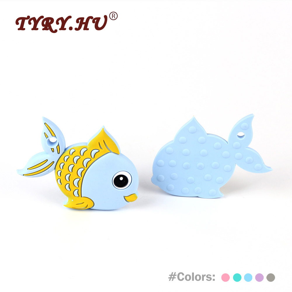 TYRY.HU 1Pc Fish Silicone Teether BPA Free Teething Tooth Care For Necklaces Making Food Grade Beads Baby Chewed Newborn Gifts