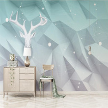 3D geometric triangle Elk lines Nordic TV background wall Custom wallpaper mural