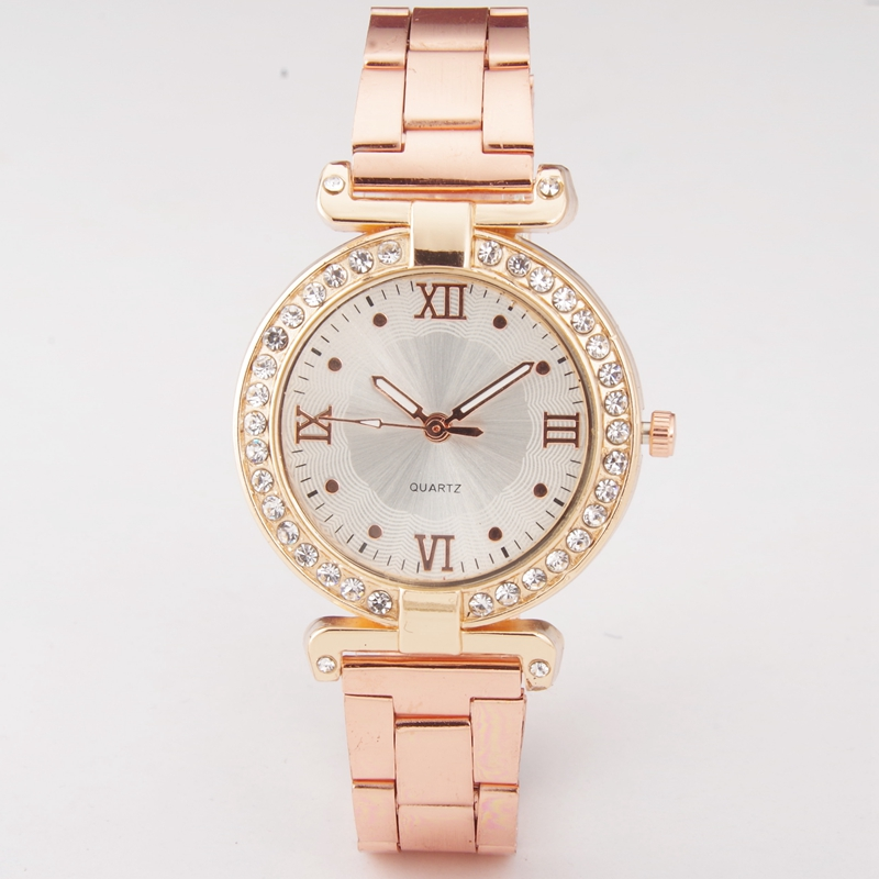 New Fashion Roman Rhinestone Watch Women Luxury Brand Stainless Steel Bracelet watches Ladies Quartz Dress Watches reloj mujer