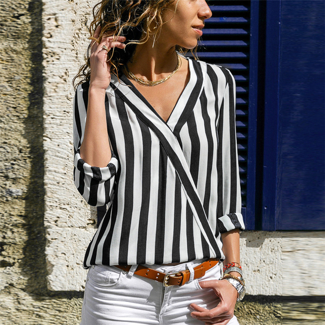 Women Striped Blouse Shirt Long Sleeve Blouse V-neck Shirts Casual Tops Blouse 38