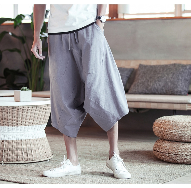 MRDONOO Men Pants Men's Wide Crotch Harem Pants Loose Large Cropped Trousers Wide-legged Bloomers Chinese Style Flaxen Baggy 107