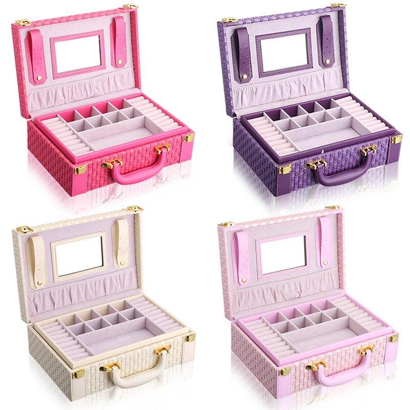 Купить с кэшбэком Large capacity storage box 2 Layers portable jewelry box New  PU leather jewelry organizer  Christmas Gift